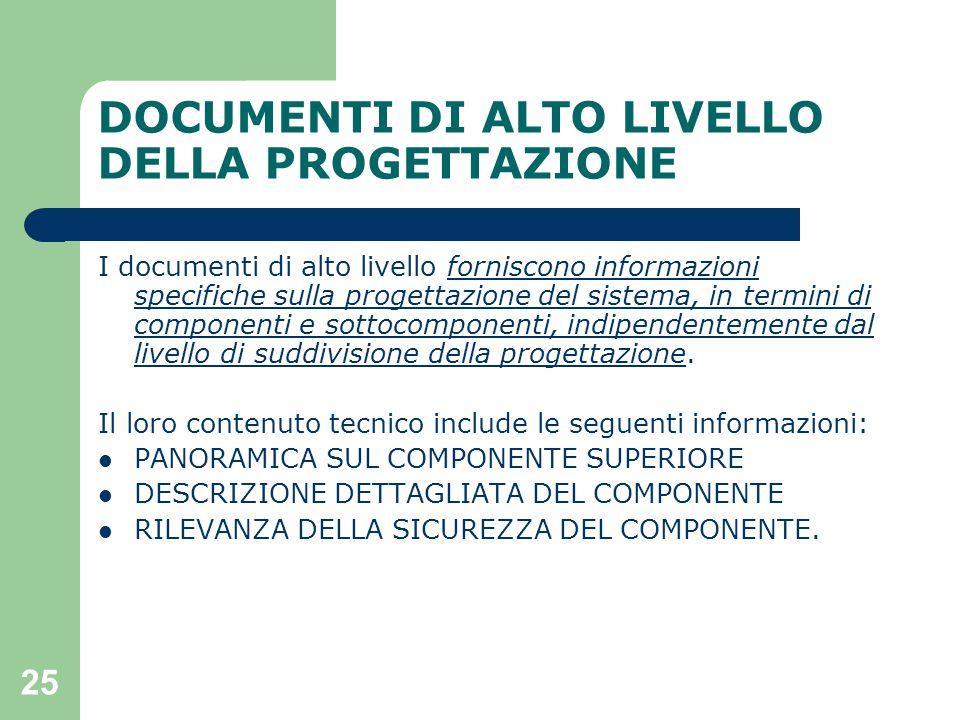 25 DOCUMENTI DI ALTO LIVELLO DELLA PROGETTAZIONE I documenti di alto livello forniscono informazioni specifiche sulla progettazione del sistema, in termini di componenti e sottocomponenti, indipendentemente dal livello di suddivisione della progettazione.