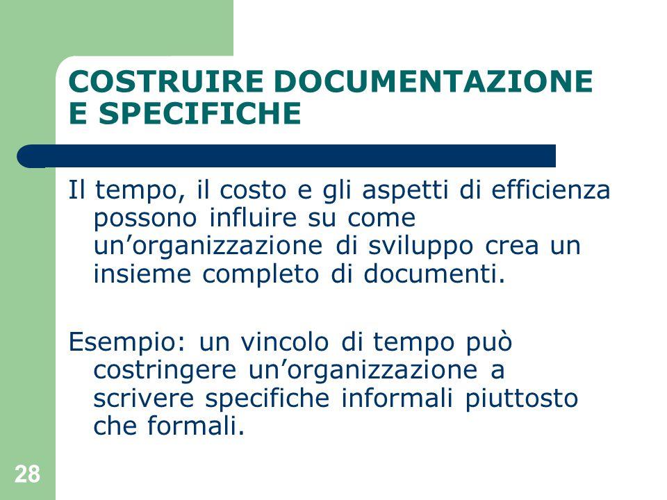 28 COSTRUIRE DOCUMENTAZIONE E SPECIFICHE Il tempo, il costo e gli aspetti di efficienza possono influire su come un'organizzazione di sviluppo crea un insieme completo di documenti.