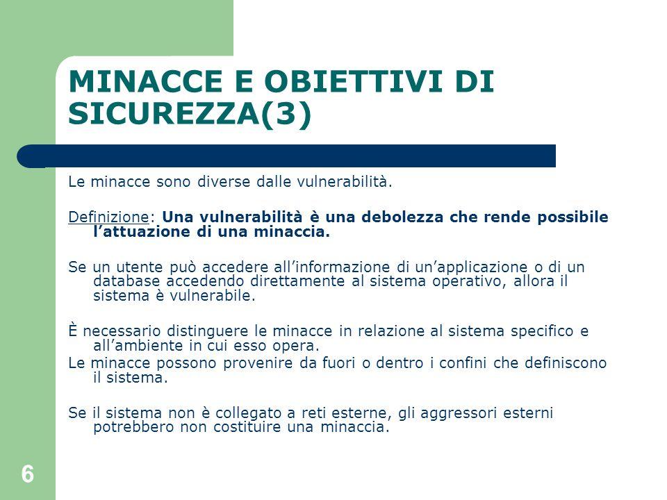 6 MINACCE E OBIETTIVI DI SICUREZZA(3) Le minacce sono diverse dalle vulnerabilità.