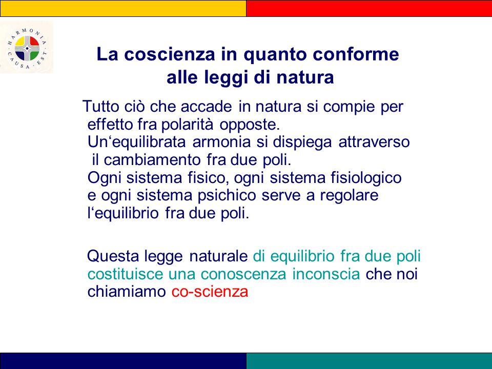 La coscienza in quanto conforme alle leggi di natura Tutto ciò che accade in natura si compie per effetto fra polarità opposte. Un'equilibrata armonia
