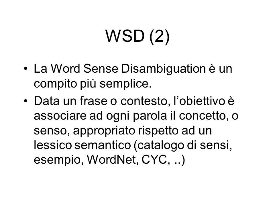 WSD (2) La Word Sense Disambiguation è un compito più semplice.