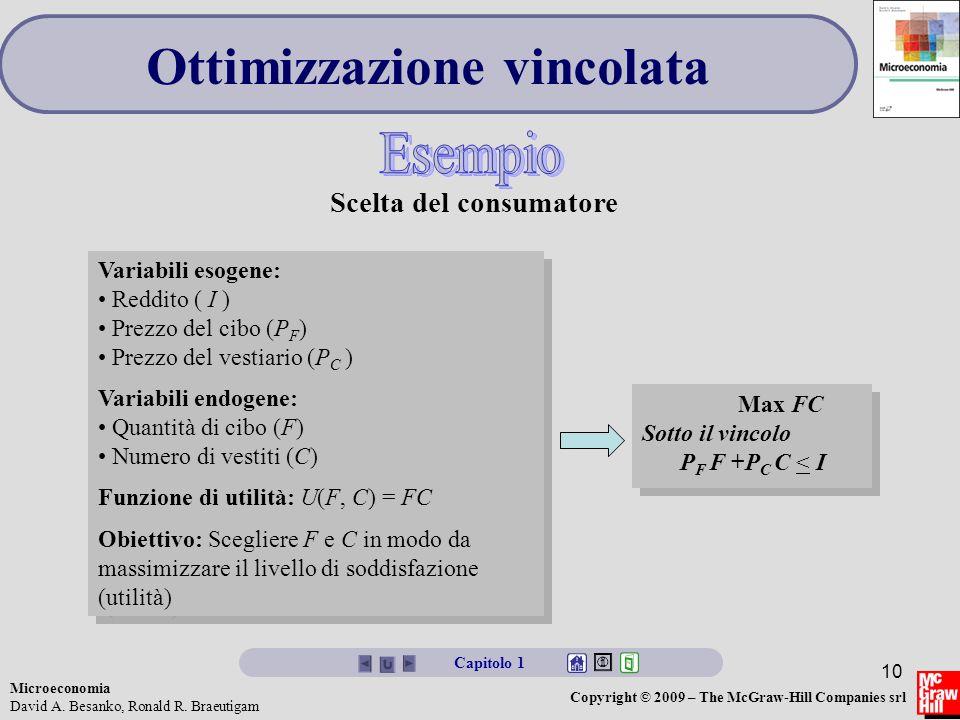 Microeconomia David A. Besanko, Ronald R. Braeutigam Copyright © 2009 – The McGraw-Hill Companies srl 10 Ottimizzazione vincolata Capitolo 1 Variabili