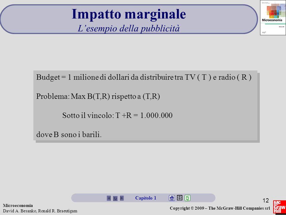 Microeconomia David A. Besanko, Ronald R. Braeutigam Copyright © 2009 – The McGraw-Hill Companies srl 12 Impatto marginale L'esempio della pubblicità