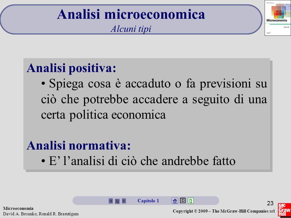 Microeconomia David A. Besanko, Ronald R. Braeutigam Copyright © 2009 – The McGraw-Hill Companies srl 23 Analisi microeconomica Alcuni tipi Analisi po