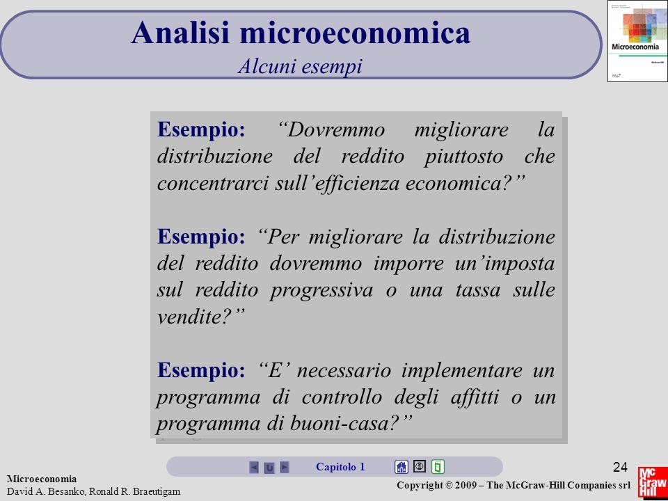 Microeconomia David A. Besanko, Ronald R. Braeutigam Copyright © 2009 – The McGraw-Hill Companies srl 24 Analisi microeconomica Alcuni esempi Esempio: