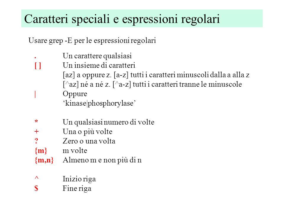 Caratteri speciali e espressioni regolari.Un carattere qualsiasi [ ]Un insieme di caratteri [az] a oppure z.