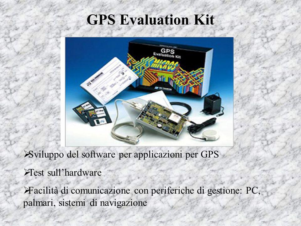 GPS Evaluation Kit  Sviluppo del software per applicazioni per GPS  Test sull'hardware  Facilità di comunicazione con periferiche di gestione: PC,