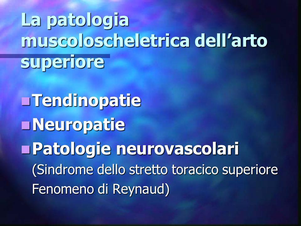La patologia muscoloscheletrica dell'arto superiore Tendinopatie Tendinopatie Neuropatie Neuropatie Patologie neurovascolari Patologie neurovascolari (Sindrome dello stretto toracico superiore Fenomeno di Reynaud)