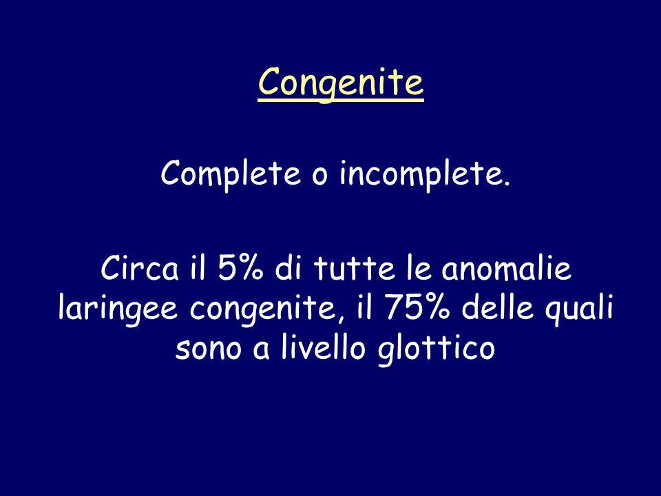 Congenite Complete o incomplete. Circa il 5% di tutte le anomalie laringee congenite, il 75% delle quali sono a livello glottico
