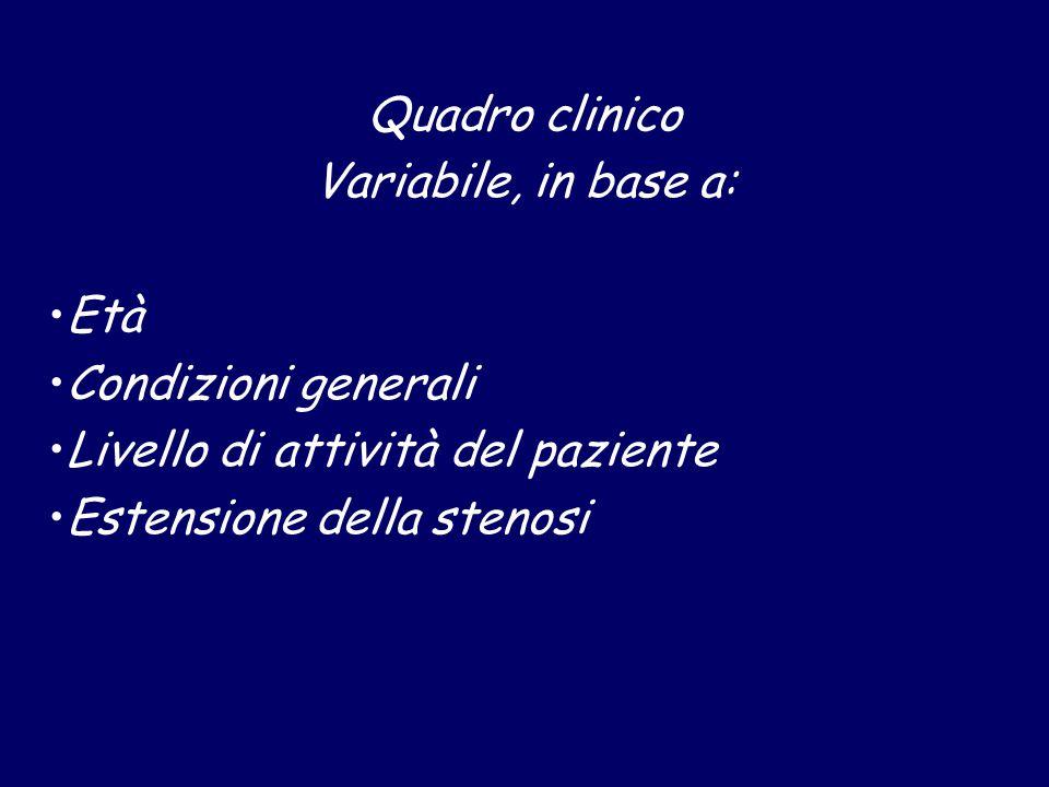 Quadro clinico Variabile, in base a: Età Condizioni generali Livello di attività del paziente Estensione della stenosi