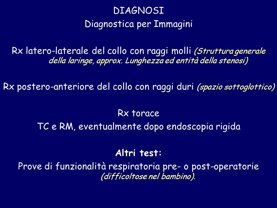 DIAGNOSI Diagnostica per Immagini Rx latero-laterale del collo con raggi molli (Struttura generale della laringe, approx. Lunghezza ed entità della st