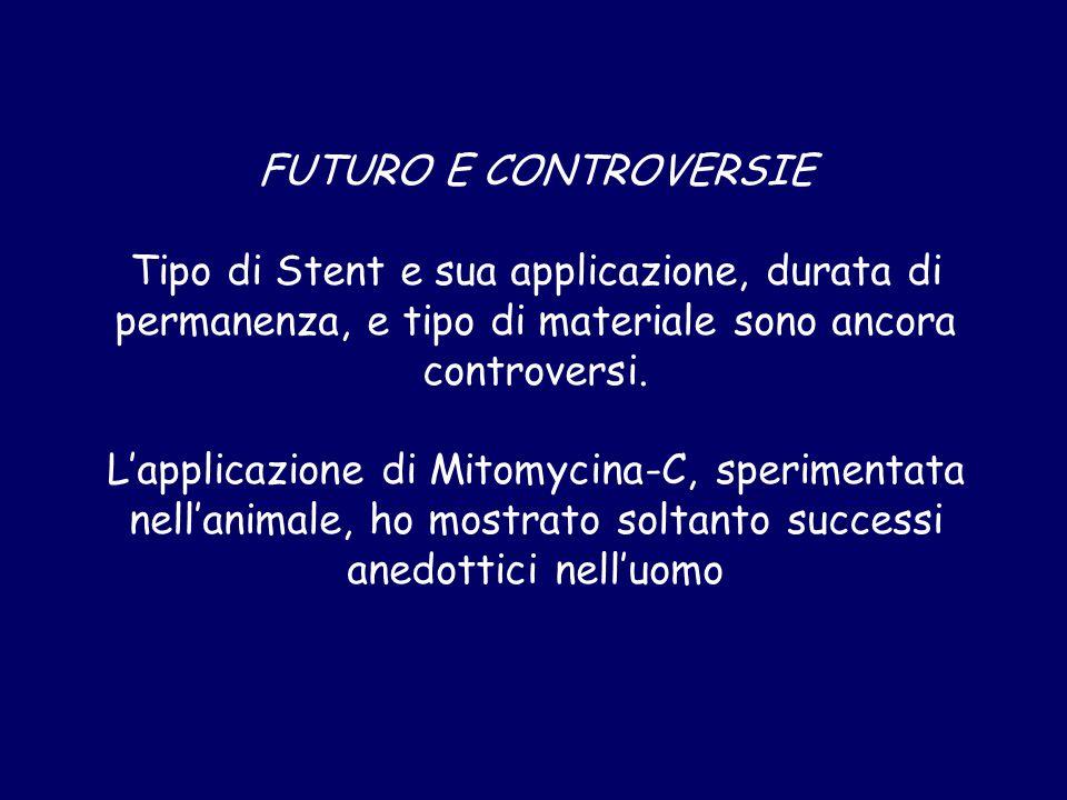 FUTURO E CONTROVERSIE Tipo di Stent e sua applicazione, durata di permanenza, e tipo di materiale sono ancora controversi. L'applicazione di Mitomycin