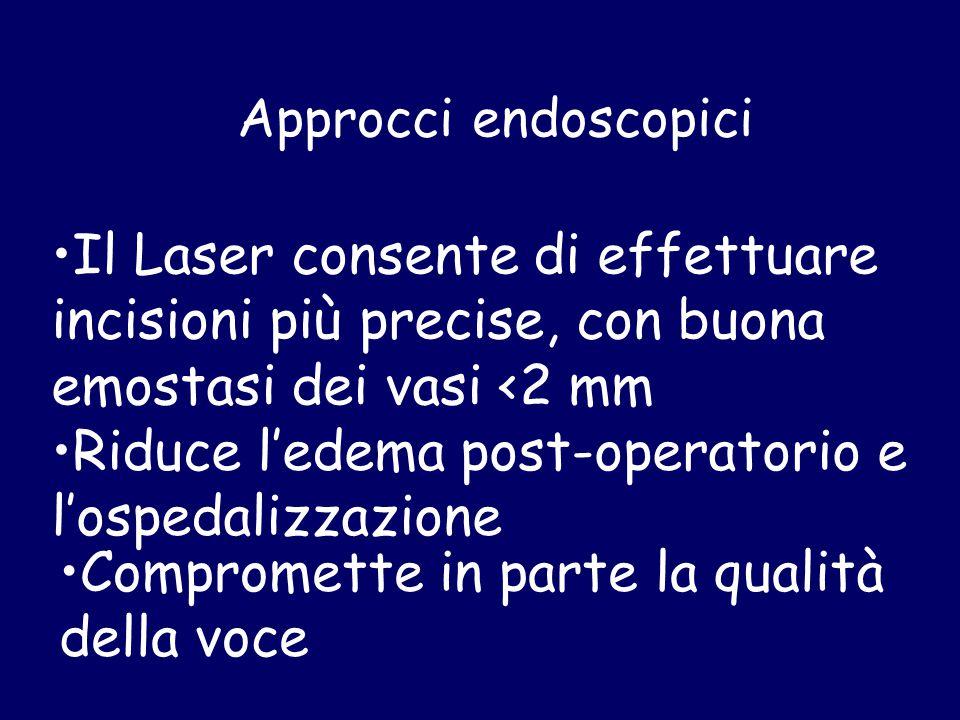 Approcci endoscopici Il Laser consente di effettuare incisioni più precise, con buona emostasi dei vasi <2 mm Riduce l'edema post-operatorio e l'osped