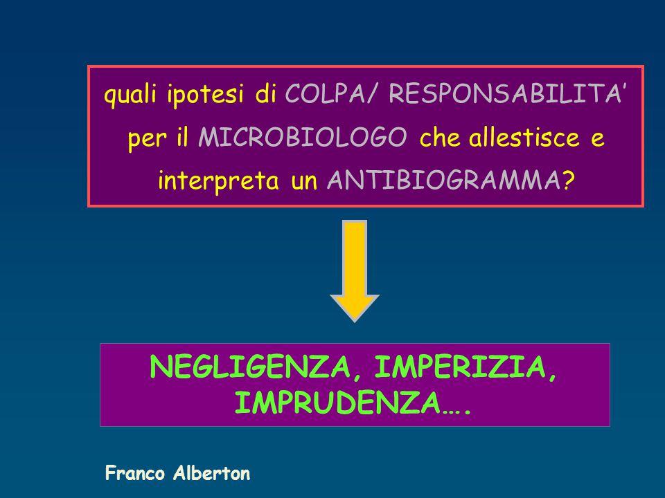 quali ipotesi di COLPA/ RESPONSABILITA' per il MICROBIOLOGO che allestisce e interpreta un ANTIBIOGRAMMA.
