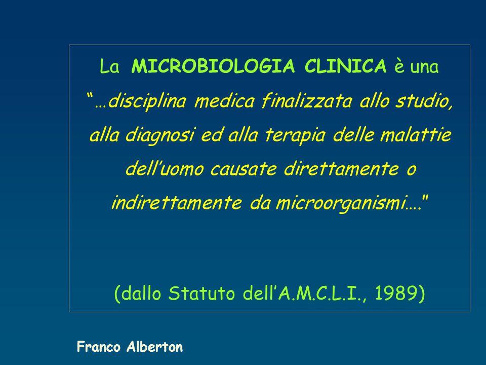 La MICROBIOLOGIA CLINICA è una …disciplina medica finalizzata allo studio, alla diagnosi ed alla terapia delle malattie dell'uomo causate direttamente o indirettamente da microorganismi…. (dallo Statuto dell'A.M.C.L.I., 1989) Franco Alberton