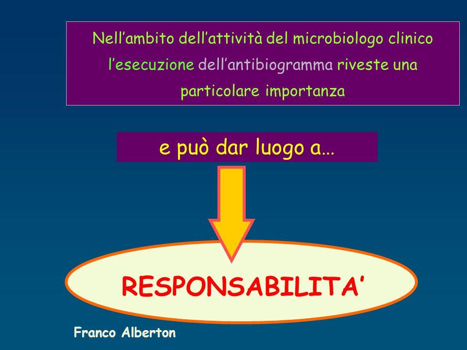 Nell'ambito dell'attività del microbiologo clinico l'esecuzione dell'antibiogramma riveste una particolare importanza e può dar luogo a… RESPONSABILITA' Franco Alberton