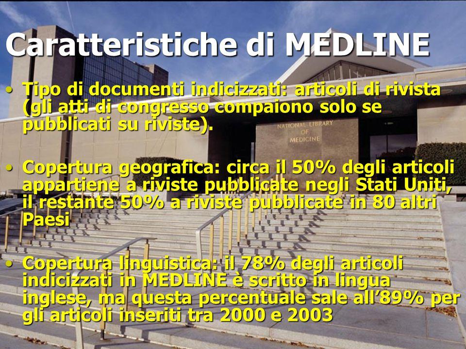 Caratteristiche di MEDLINE Tipo di documenti indicizzati: articoli di rivista (gli atti di congresso compaiono solo se pubblicati su riviste).Tipo di