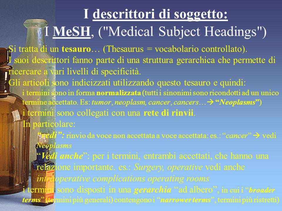I descrittori di soggetto: I MeSH, (