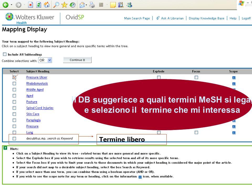 il DB suggerisce a quali termini MeSH si lega, e seleziono il termine che mi interessa Termine libero