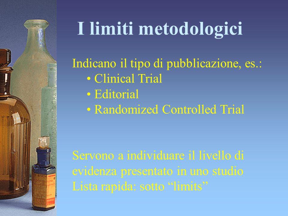 I limiti metodologici Indicano il tipo di pubblicazione, es.: Clinical Trial Editorial Randomized Controlled Trial Servono a individuare il livello di