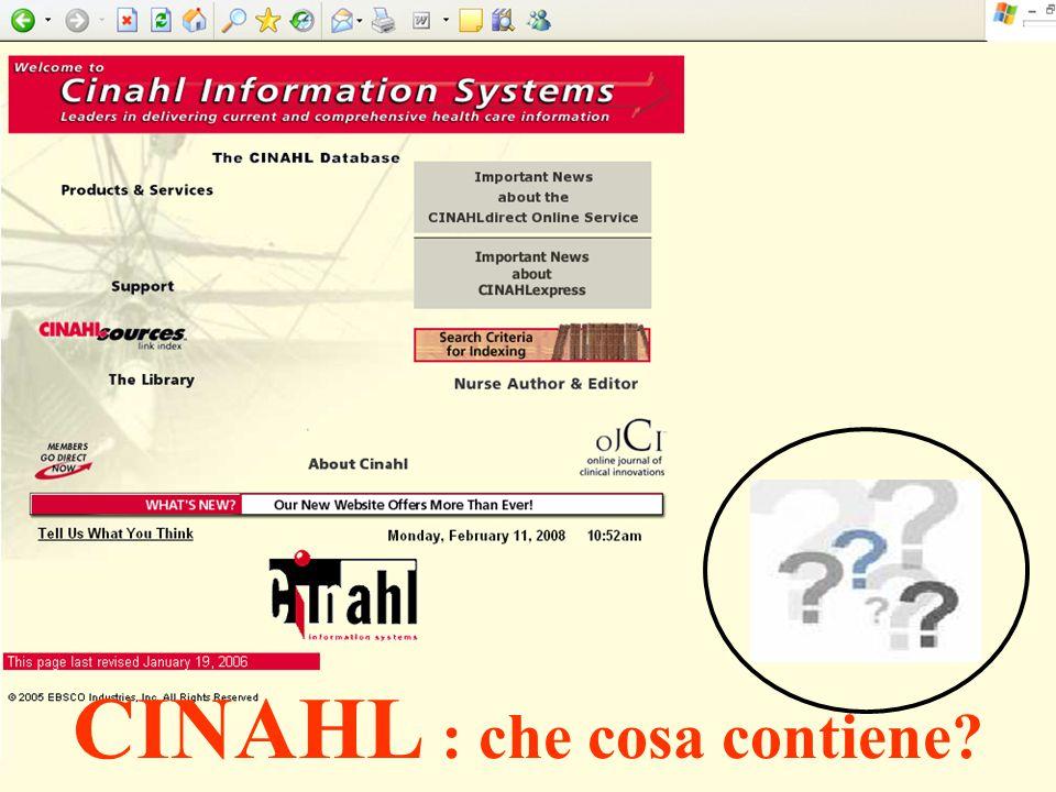 CINAHL : che cosa contiene?