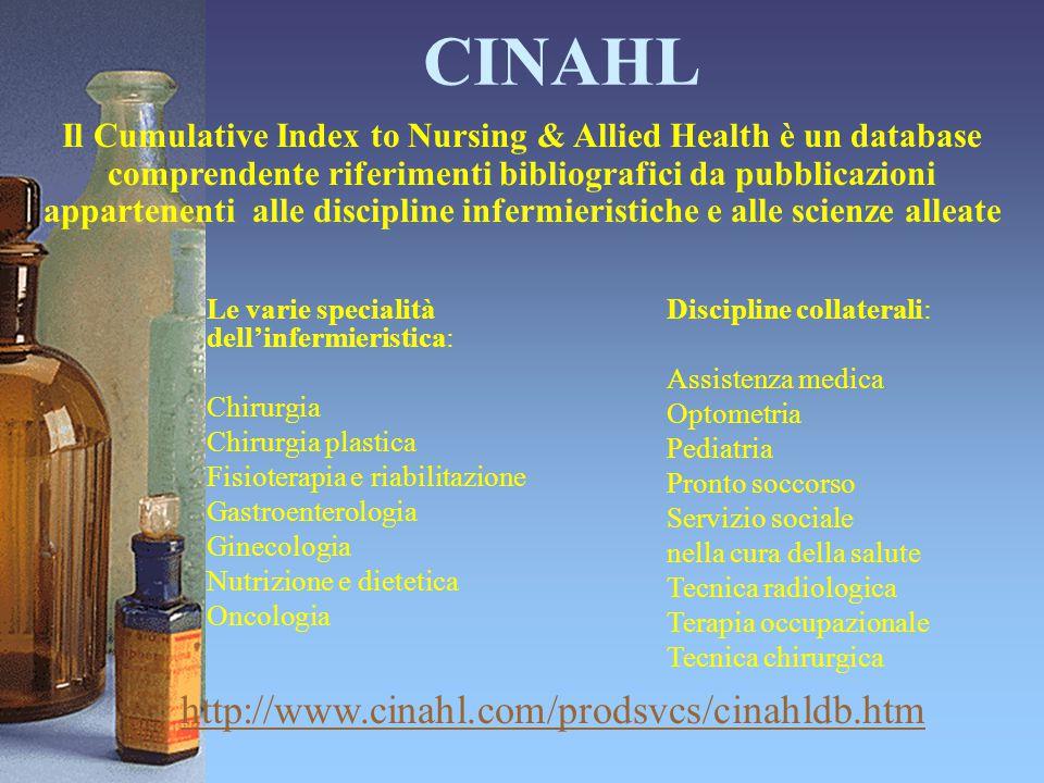 CINAHL http://www.cinahl.com/prodsvcs/cinahldb.htm Il Cumulative Index to Nursing & Allied Health è un database comprendente riferimenti bibliografici