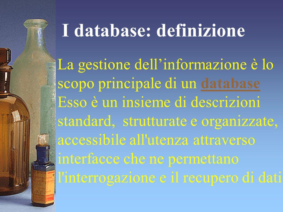 I database: definizione La gestione dell'informazione è lo scopo principale di un databasedatabase Esso è un insieme di descrizioni standard, struttur
