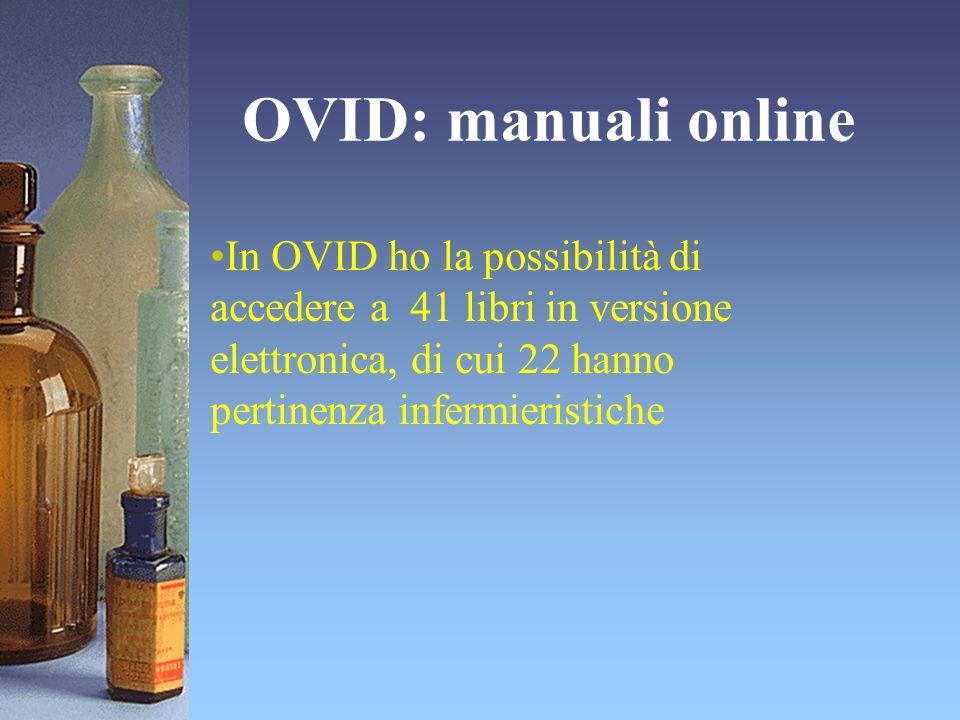 OVID: manuali online In OVID ho la possibilità di accedere a 41 libri in versione elettronica, di cui 22 hanno pertinenza infermieristiche