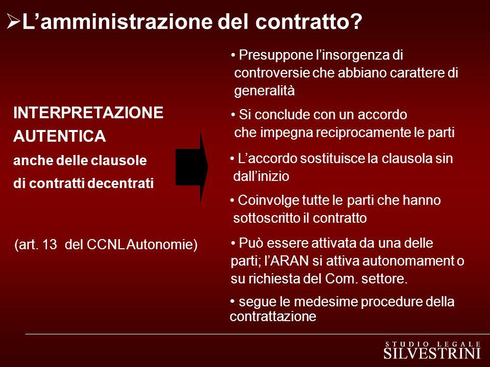 INTERPRETAZIONE AUTENTICA anche delle clausole di contratti decentrati  L'amministrazione del contratto.