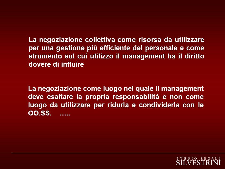 La negoziazione come luogo nel quale il management deve esaltare la propria responsabilità e non come luogo da utilizzare per ridurla e condividerla con le OO.SS.