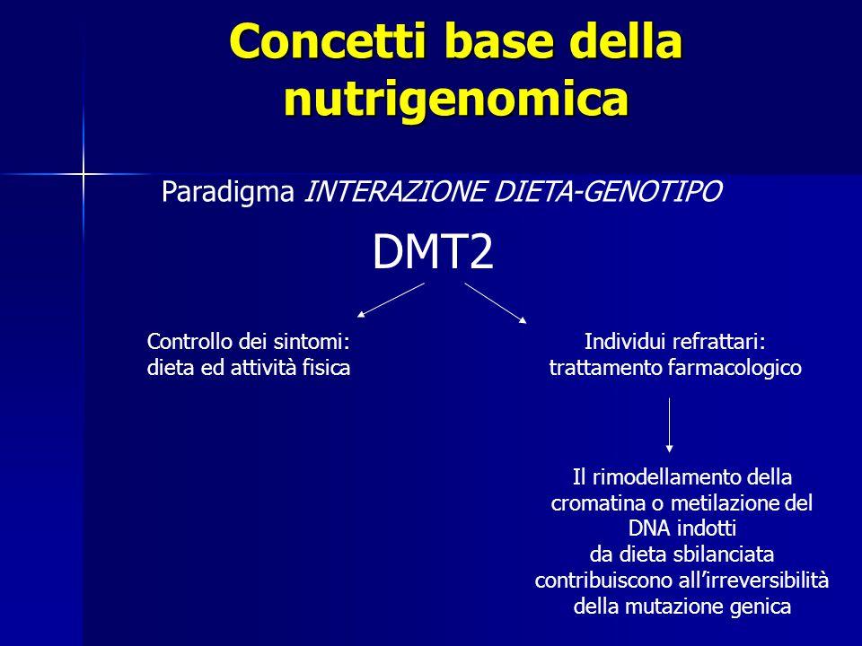 Concetti base della nutrigenomica Paradigma INTERAZIONE DIETA-GENOTIPO Controllo dei sintomi: dieta ed attività fisica Individui refrattari: trattamento farmacologico Il rimodellamento della cromatina o metilazione del DNA indotti da dieta sbilanciata contribuiscono all'irreversibilità della mutazione genica DMT2