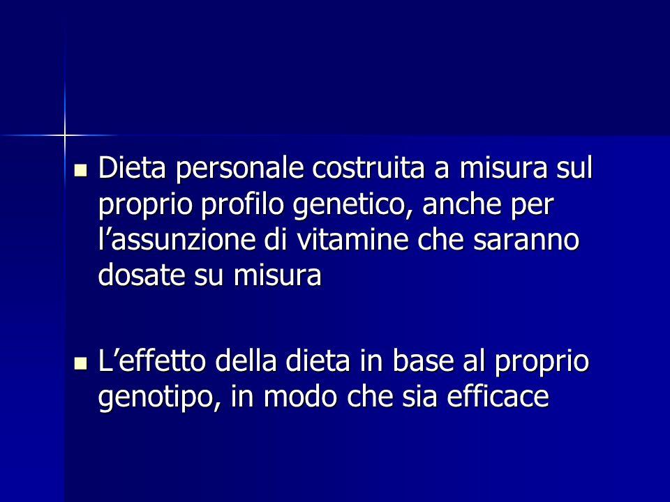 Dieta personale costruita a misura sul proprio profilo genetico, anche per l'assunzione di vitamine che saranno dosate su misura Dieta personale costr