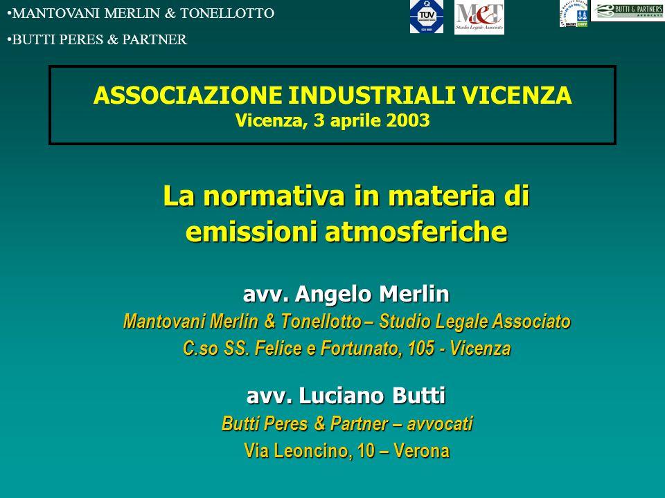 MANTOVANI MERLIN & TONELLOTTO BUTTI PERES & PARTNER ASSOCIAZIONE INDUSTRIALI VICENZA Vicenza, 3 aprile 2003 La normativa in materia di emissioni atmos