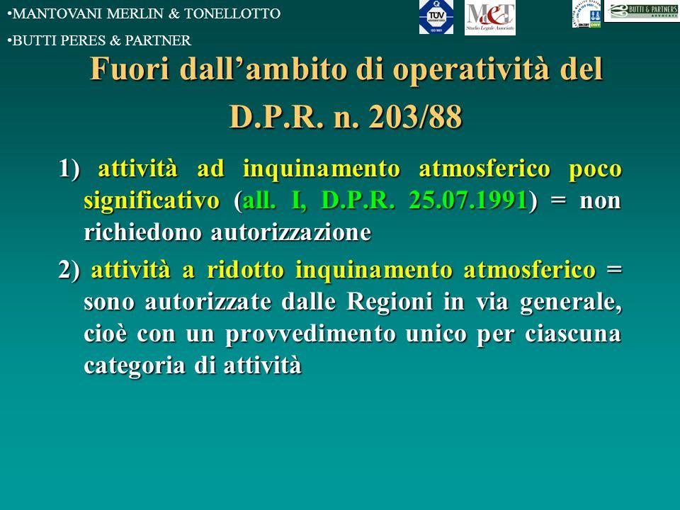 MANTOVANI MERLIN & TONELLOTTO BUTTI PERES & PARTNER Fuori dall'ambito di operatività del D.P.R. n. 203/88 1) attività ad inquinamento atmosferico poco