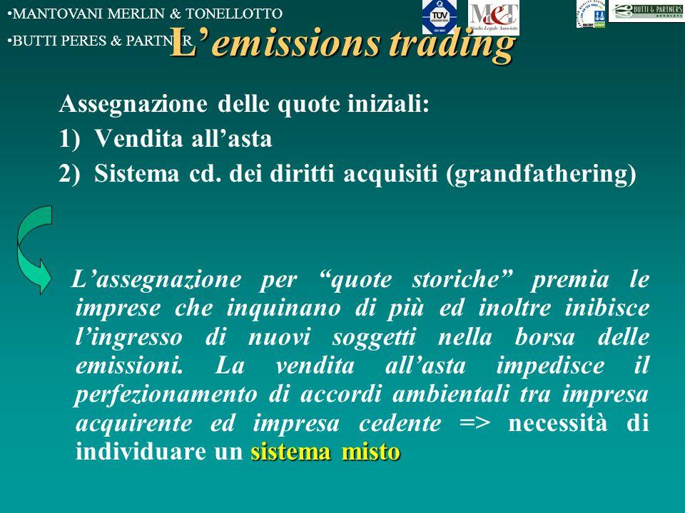 MANTOVANI MERLIN & TONELLOTTO BUTTI PERES & PARTNER L'emissions trading Assegnazione delle quote iniziali: 1) Vendita all'asta 2) Sistema cd. dei diri