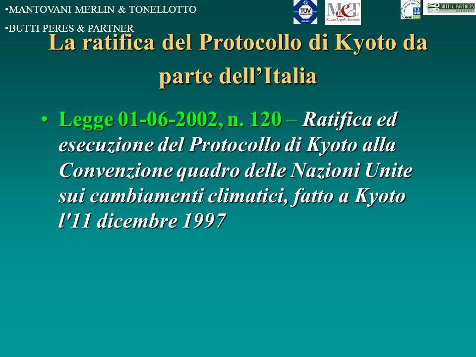 MANTOVANI MERLIN & TONELLOTTO BUTTI PERES & PARTNER La ratifica del Protocollo di Kyoto da parte dell'Italia Legge 01-06-2002, n. 120 –Ratifica ed ese