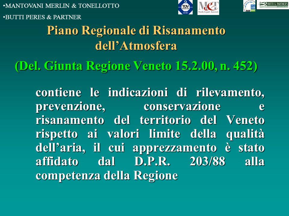MANTOVANI MERLIN & TONELLOTTO BUTTI PERES & PARTNER Piano Regionale di Risanamento dell'Atmosfera (Del. Giunta Regione Veneto 15.2.00, n. 452) contien