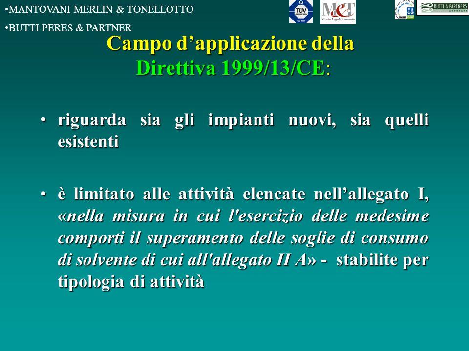 MANTOVANI MERLIN & TONELLOTTO BUTTI PERES & PARTNER Campo d'applicazione della Direttiva 1999/13/CE: riguarda sia gli impianti nuovi, sia quelli esist