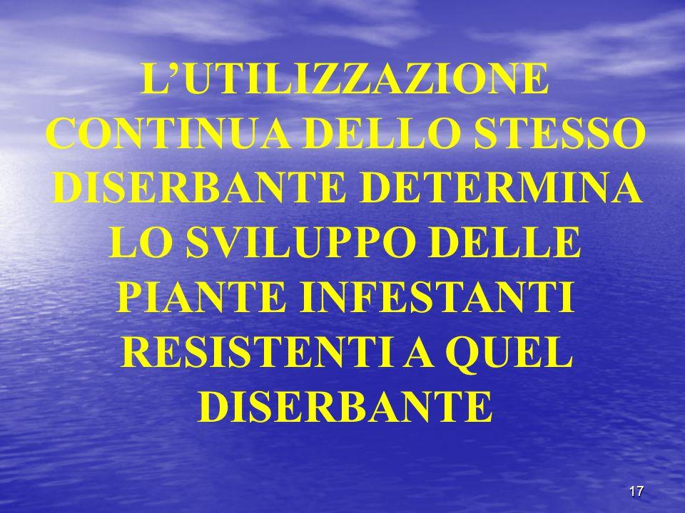17 L'UTILIZZAZIONE CONTINUA DELLO STESSO DISERBANTE DETERMINA LO SVILUPPO DELLE PIANTE INFESTANTI RESISTENTI A QUEL DISERBANTE