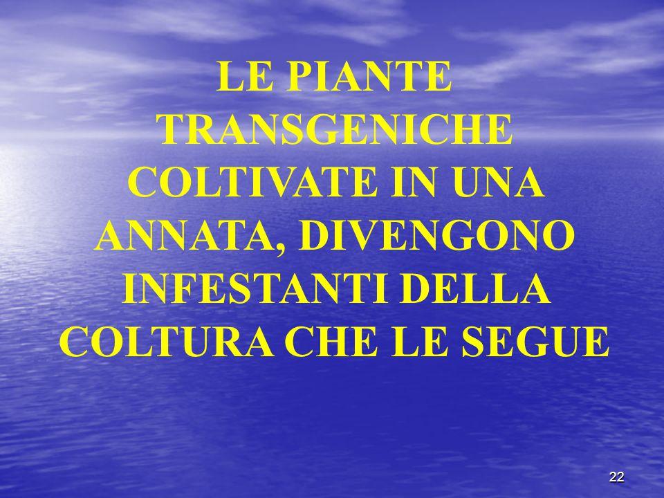 22 LE PIANTE TRANSGENICHE COLTIVATE IN UNA ANNATA, DIVENGONO INFESTANTI DELLA COLTURA CHE LE SEGUE