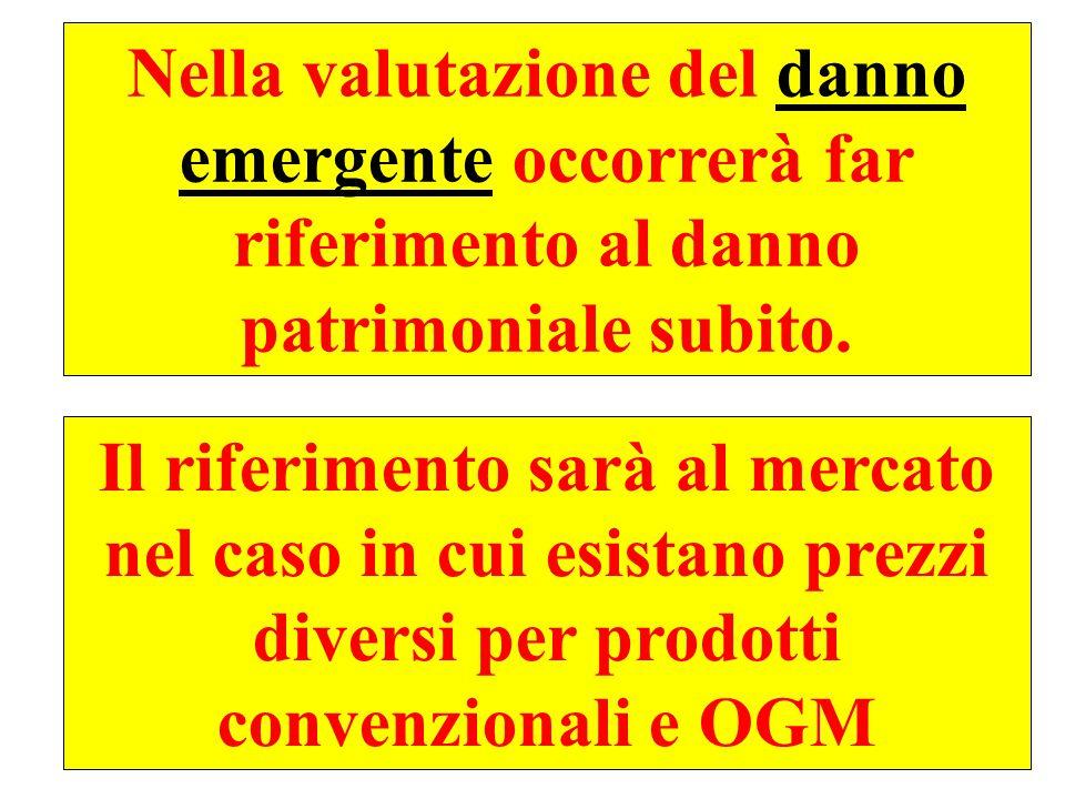 45 Nella valutazione del danno emergente occorrerà far riferimento al danno patrimoniale subito.