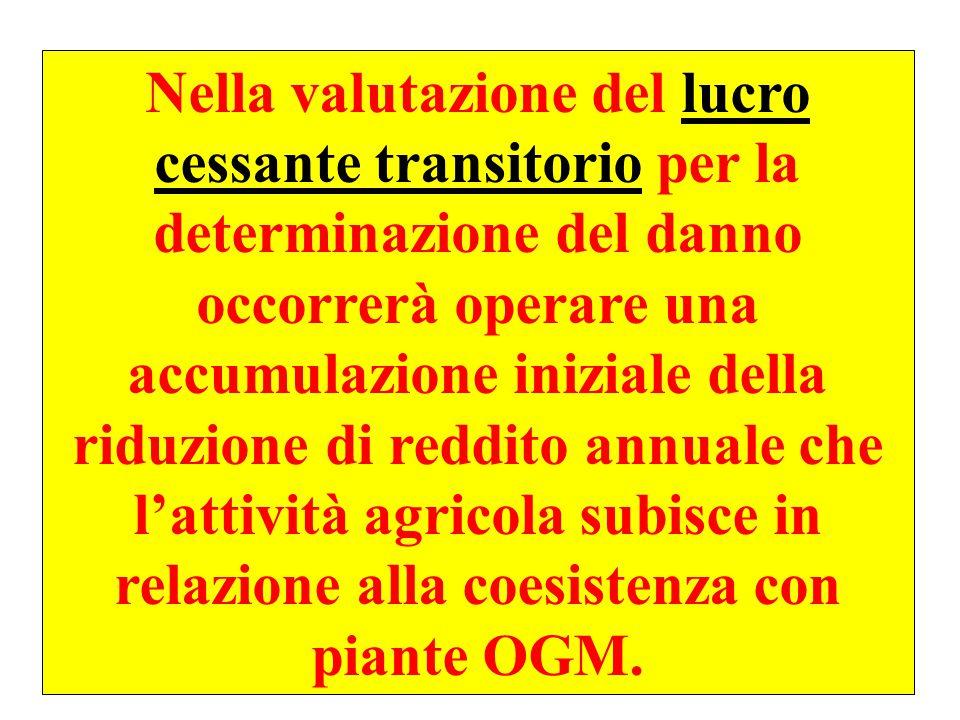 47 Nella valutazione del lucro cessante transitorio per la determinazione del danno occorrerà operare una accumulazione iniziale della riduzione di reddito annuale che l'attività agricola subisce in relazione alla coesistenza con piante OGM.