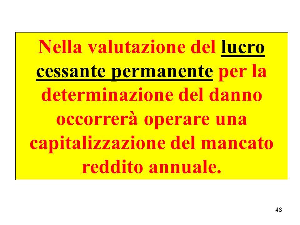48 Nella valutazione del lucro cessante permanente per la determinazione del danno occorrerà operare una capitalizzazione del mancato reddito annuale.