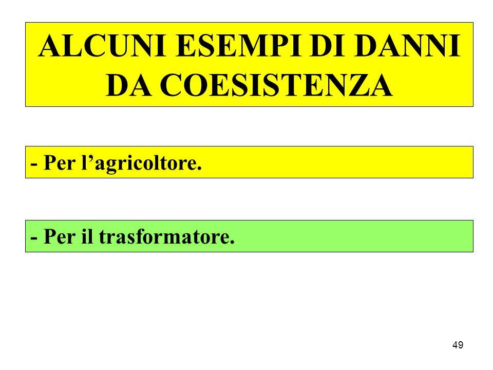 49 ALCUNI ESEMPI DI DANNI DA COESISTENZA - Per l'agricoltore. - Per il trasformatore.