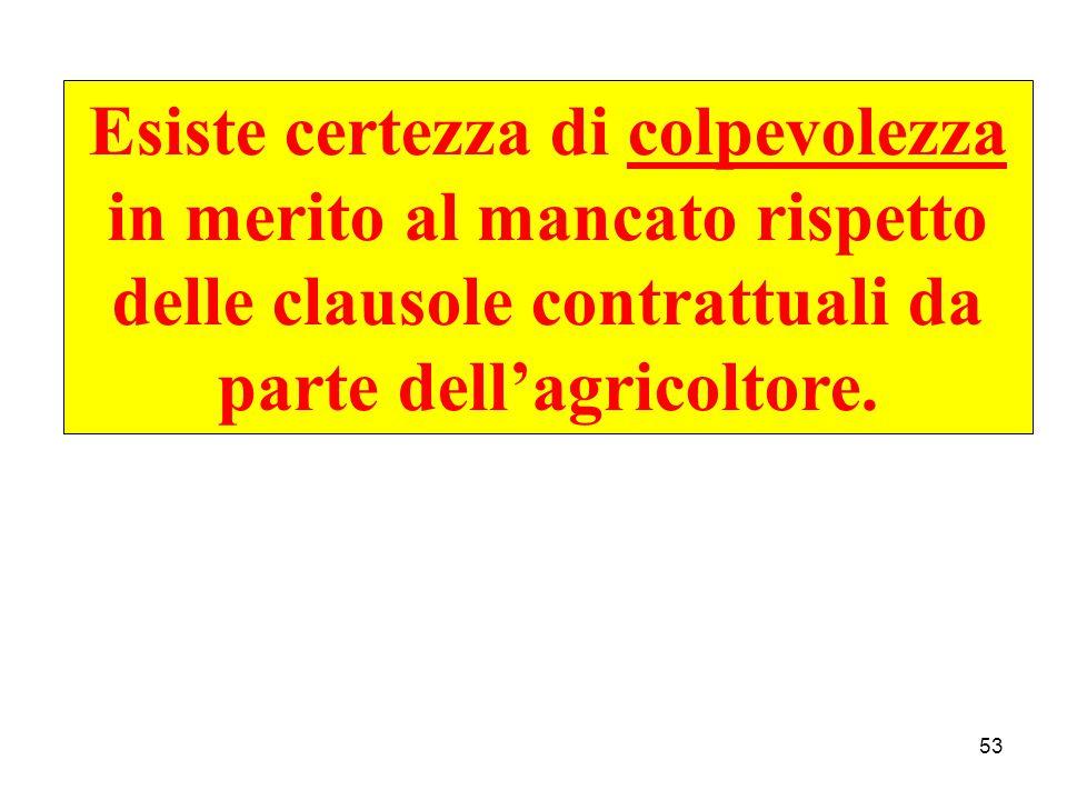 53 Esiste certezza di colpevolezza in merito al mancato rispetto delle clausole contrattuali da parte dell'agricoltore.