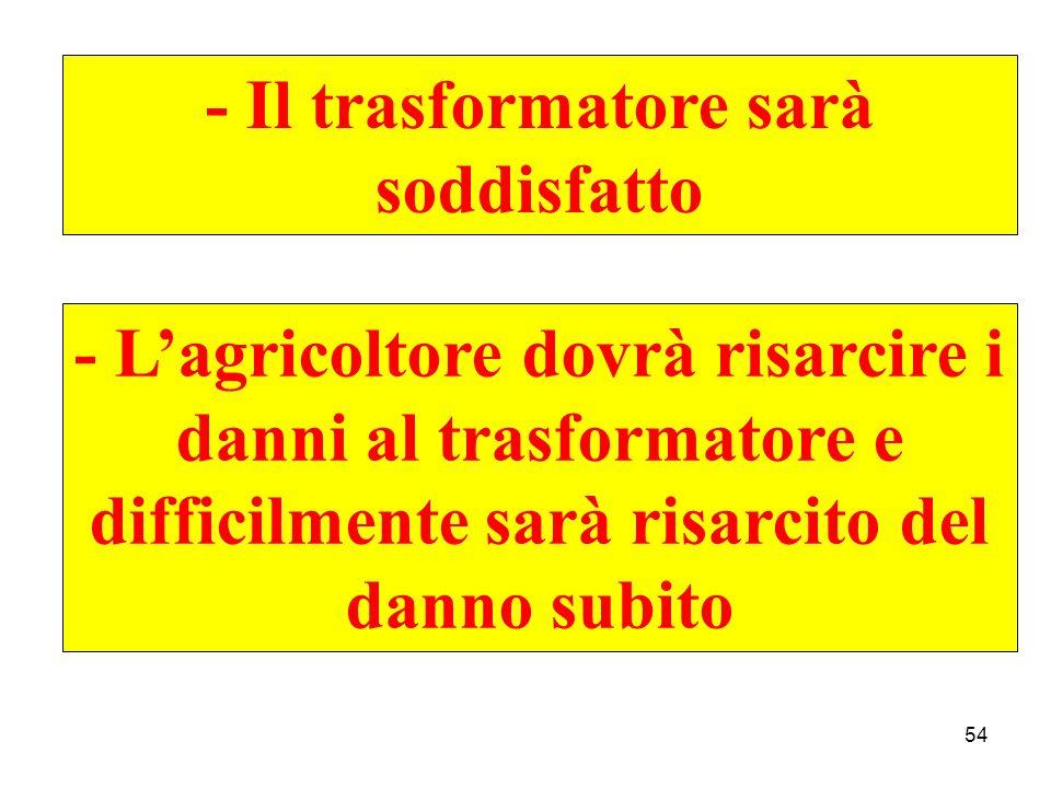 54 - Il trasformatore sarà soddisfatto - L'agricoltore dovrà risarcire i danni al trasformatore e difficilmente sarà risarcito del danno subito