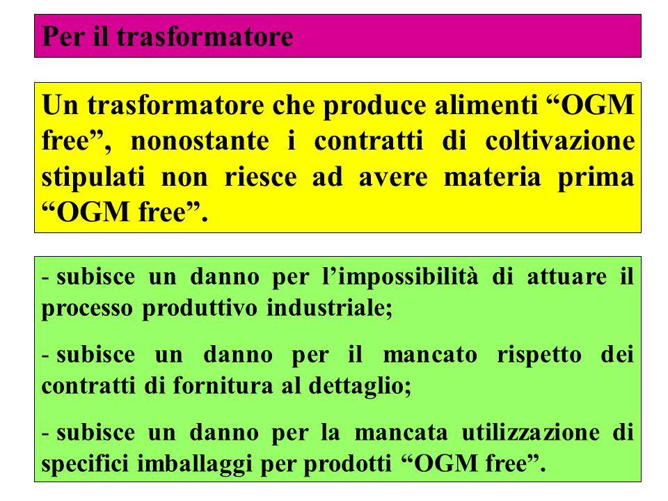 58 Per il trasformatore Un trasformatore che produce alimenti OGM free , nonostante i contratti di coltivazione stipulati non riesce ad avere materia prima OGM free .