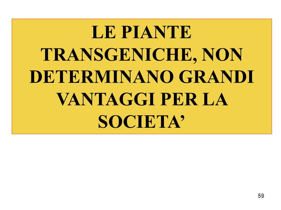 59 LE PIANTE TRANSGENICHE, NON DETERMINANO GRANDI VANTAGGI PER LA SOCIETA'