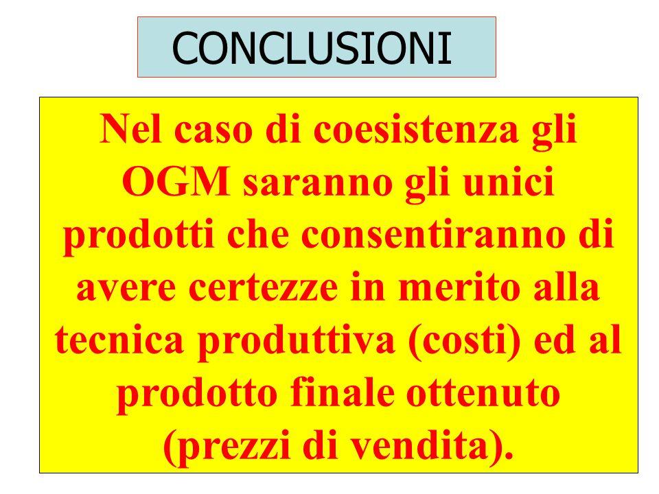 71 Nel caso di coesistenza gli OGM saranno gli unici prodotti che consentiranno di avere certezze in merito alla tecnica produttiva (costi) ed al prodotto finale ottenuto (prezzi di vendita).