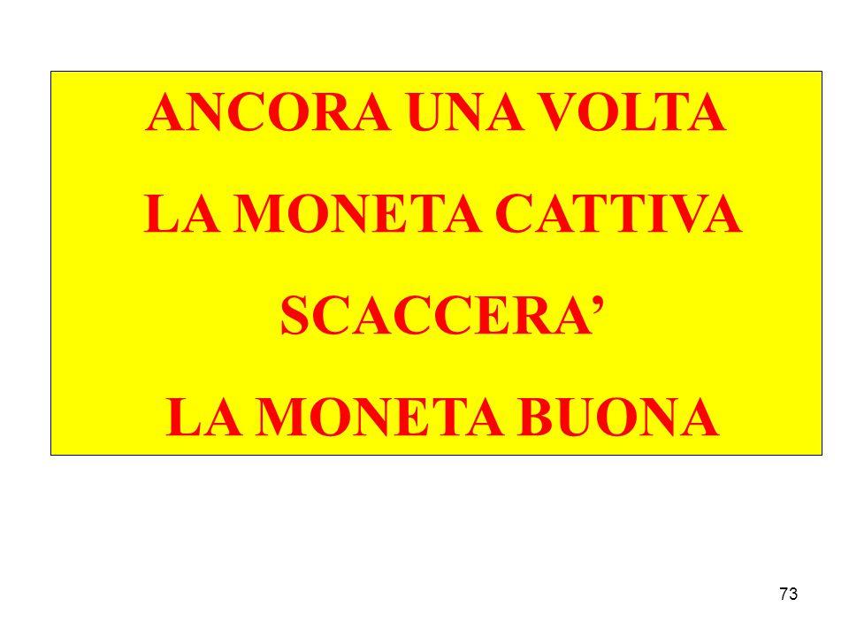 73 ANCORA UNA VOLTA LA MONETA CATTIVA SCACCERA' LA MONETA BUONA